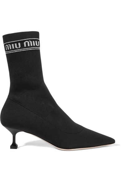 Logo Print Metallic Stretch Knit Sock Boots by Miu Miu