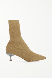 Miu Miu Crystal-embellished metallic ribbed-knit sock boots