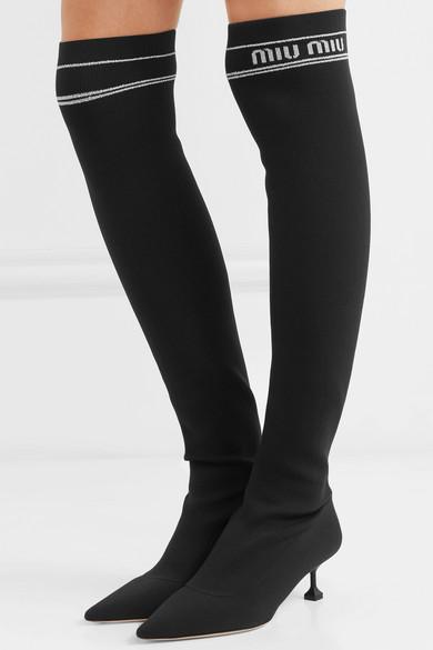 a594e1eb5e6d Miu Miu. Ribbed-knit over-the-knee sock boots