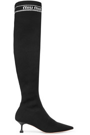 Miu Miu Ribbed-knit over-the-knee sock boots