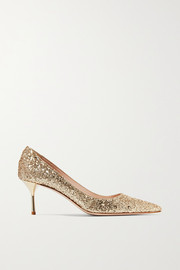 Miu Miu Glittered leather pumps