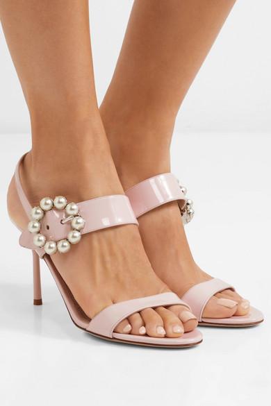 Miu Lackleder Miu | Slingback-Sandalen aus Lackleder Miu mit Kunstperlen 9d0227