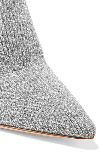 Miu Miu | Oberschenkelhohe Sock Kristallen Boots aus Metallic-Rippstrick mit Kristallen Sock 806f08