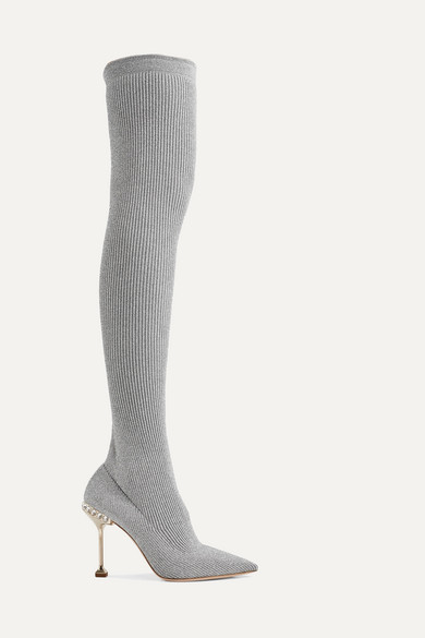 Outlet Excellent Clearance Embellished Ribbed-knit Over-the-knee Sock Boots - Silver Miu Miu a9mmfb