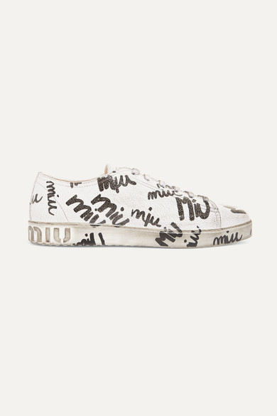 LOGO-PRINT CRACKED-LEATHER SNEAKERS