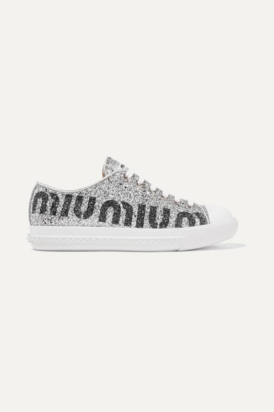 separation shoes 8d5c1 4a99c Logo-print glittered leather sneakers