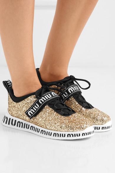 Miu Neopren Miu | Sneakers aus Neopren Miu mit Glitter-Finish und Gummi mit Logoprint 634bf6