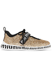 Miu Miu Logo-print glittered neoprene and rubber sneakers