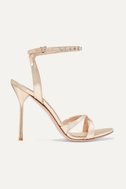 Miu Miu Crystal-embellished metallic leather sandals