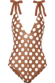 Zimmermann Grosgrain-trimmed polka-dot swimsuit