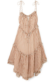 EXCLUSIVE Lumino asymmetric ruffled striped linen midi dress