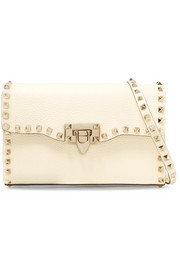 The Rockstud textured-leather shoulder bag