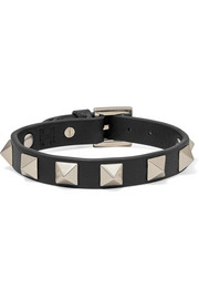Valentino Valentino Garavani The Rockstud textured-leather and gold-tone bracelet