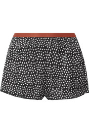 Edie printed satin pajama shorts