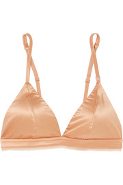 Darling chiffon-trimmed stretch-satin soft-cup triangle bra