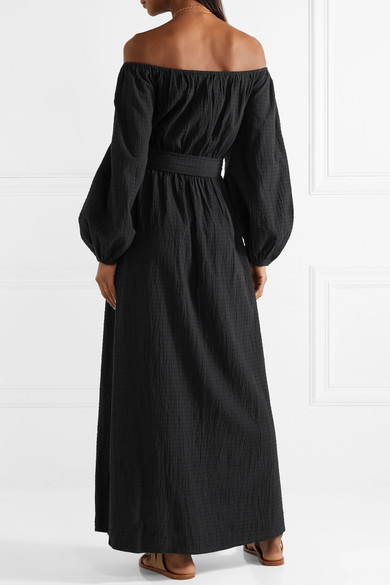 Malika Off-the-shoulder Textured-organic Cotton Maxi Dress - Black Mara Hoffman Discount Release Dates Outlet Pay With Paypal 7agn6