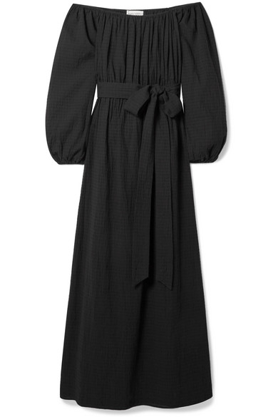 Outlet Fashion Style Malika Off-the-shoulder Textured-organic Cotton Maxi Dress - Black Mara Hoffman Discount How Much Looking For Cheap Online New Arrival Fashion Buy Cheap Outlet sQ0bwa
