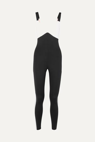 VAARA Savannah Two-Tone Stretch-Knit Bodysuit in Black