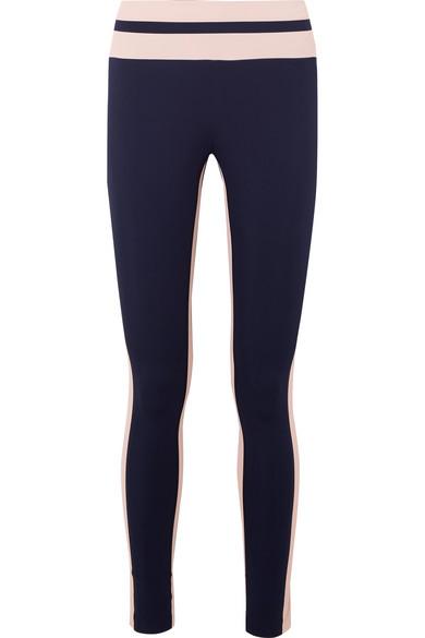 VAARA Flo Tuxedo Striped Stretch-Knit Leggings in Midnight Blue