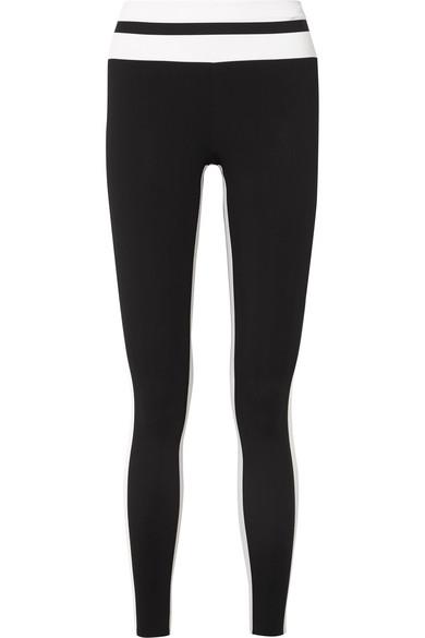 VAARA Flo Tuxedo Striped Stretch-Knit Leggings in Black