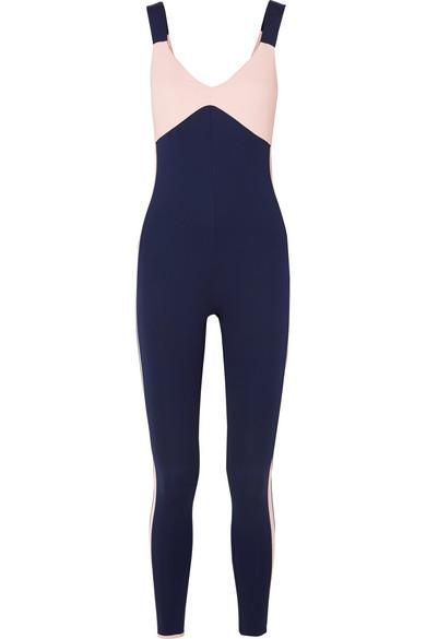 VAARA Savannah Two-Tone Stretch-Knit Bodysuit in Navy