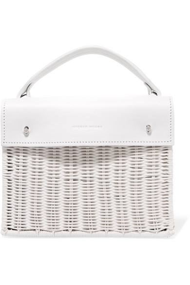 WICKER WINGS Kuai Rattan And Leather Tote in White