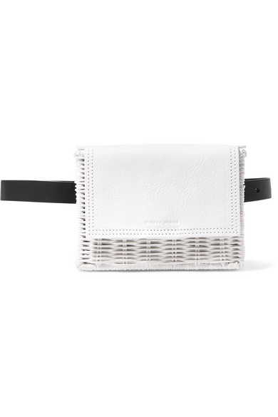 WICKER WINGS Tao Rattan And Leather Belt Bag in White