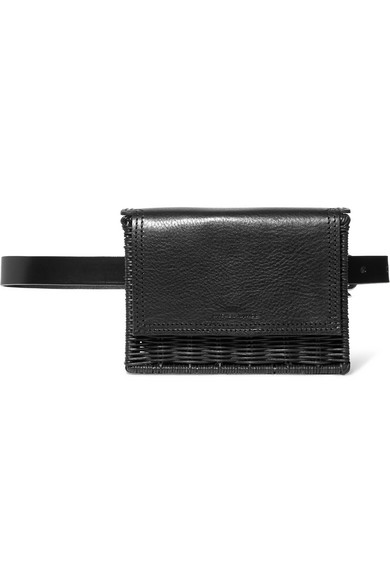 WICKER WINGS Tao Rattan And Leather Belt Bag in Black