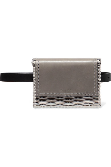 WICKER WINGS Tao Rattan And Leather Belt Bag in Gray
