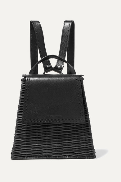 WICKER WINGS Tixing Tall Rattan And Leather Backpack in Black