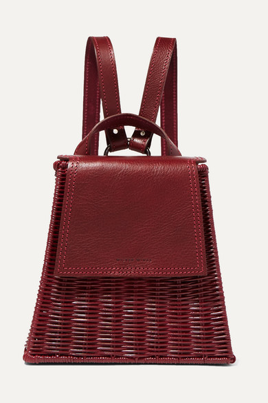 WICKER WINGS Tixting Tall Rattan And Leather Backpack in Burgundy