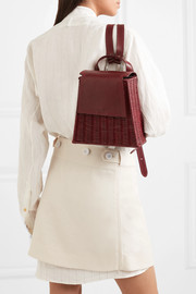 Tixting Tall rattan and leather backpack
