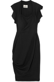 Draped crepe de chine dress