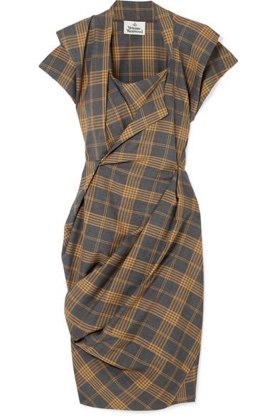 Grand Fond Draped Tartan Wool Dress