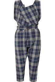 Oversized draped tartan wool overalls