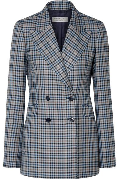 Angela Checked Silk And Wool-Blend Blazer, Navy