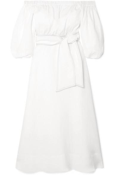 Riley Off The Shoulder Linen Dress by Gabriela Hearst