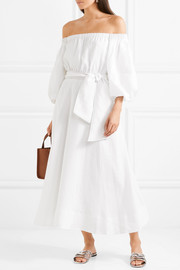 Riley off-the-shoulder linen dress