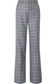 Vesta checked silk and wool-blend wide-leg pants