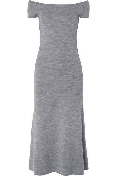 Larrington Off-The-Shoulder Mélange Wool-Blend Midi Dress, Gray