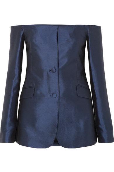 GABRIELA HEARST Dorothea Off-The-Shoulder Silk And Wool-Blend Blazer in Navy