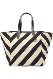 JW Anderson Belt leather-trimmed striped linen tote