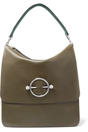 Disc leather and suede shoulder bag