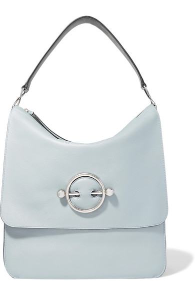 Disc Leather And Suede Shoulder Bag in Blue