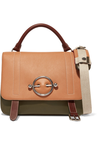 Disc color-block leather and suede shoulder bag