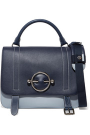 Disc two-tone leather and suede shoulder bag
