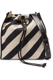 Leather-trimmed striped canvas bucket bag