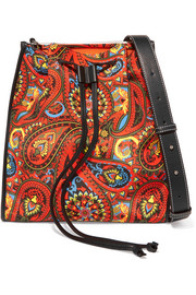 Leather-trimmed printed canvas shoulder bag