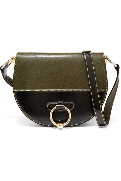 Latch Smooth And Textured-Leather Shoulder Bag in Green from FORZIERI