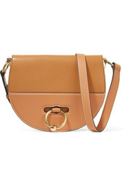 Latch smooth and textured-leather shoulder bag